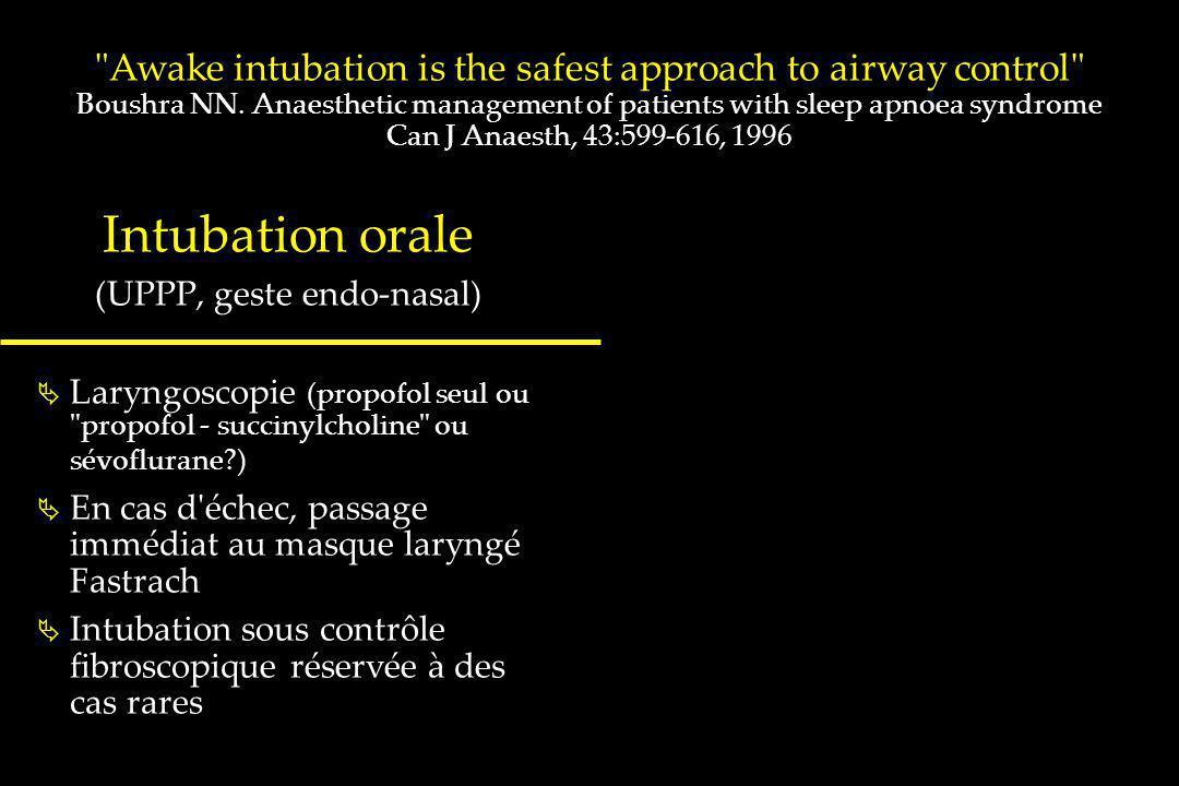 Intubation orale (UPPP, geste endo-nasal) Laryngoscopie (propofol seul ou