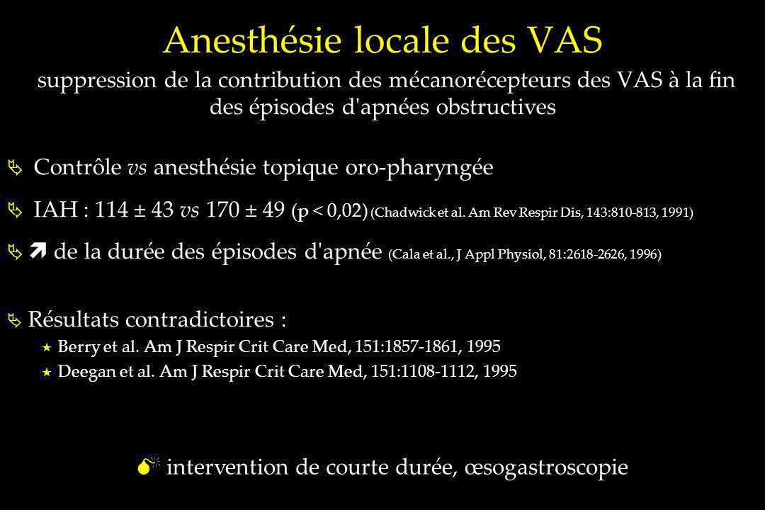 Anesthésie locale des VAS suppression de la contribution des mécanorécepteurs des VAS à la fin des épisodes d'apnées obstructives Contrôle vs anesthés
