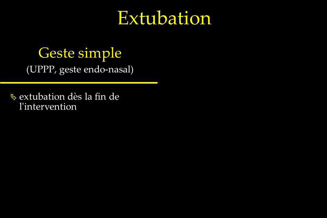 Extubation Geste simple (UPPP, geste endo-nasal) extubation dès la fin de l'intervention