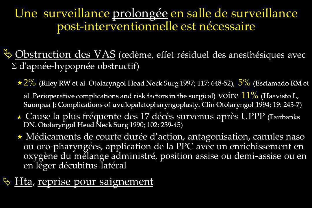 Une surveillance prolongée en salle de surveillance post-interventionnelle est nécessaire Obstruction des VAS (œdème, effet résiduel des anesthésiques
