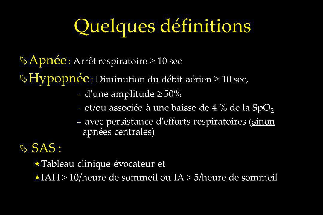 Quelques définitions Apnée : Arrêt respiratoire 10 sec Hypopnée : Diminution du débit aérien 10 sec, – d'une amplitude 50% – et/ou associée à une bais