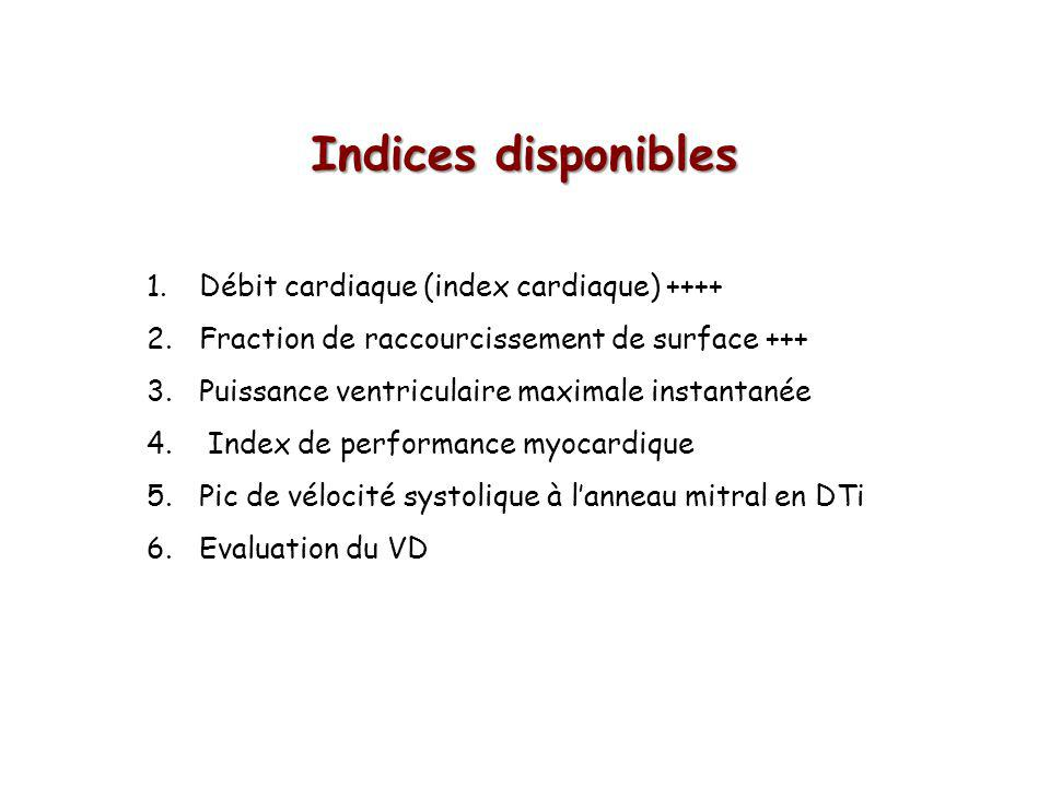Indices disponibles 1.Débit cardiaque (index cardiaque) ++++ 2.Fraction de raccourcissement de surface +++ 3.Puissance ventriculaire maximale instantanée 4.