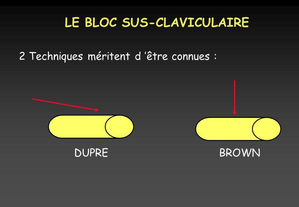 LE BLOC SUS-CLAVICULAIRE 2 Techniques méritent d être connues : DUPREBROWN