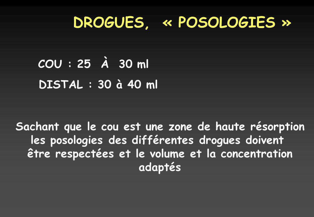 DROGUES, « POSOLOGIES » COU : 25 À 30 ml DISTAL : 30 à 40 ml Sachant que le cou est une zone de haute résorption les posologies des différentes drogues doivent être respectées et le volume et la concentration adaptés