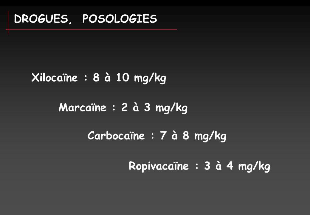 DROGUES, POSOLOGIES Xilocaïne : 8 à 10 mg/kg Marcaïne : 2 à 3 mg/kg Carbocaïne : 7 à 8 mg/kg Ropivacaïne : 3 à 4 mg/kg
