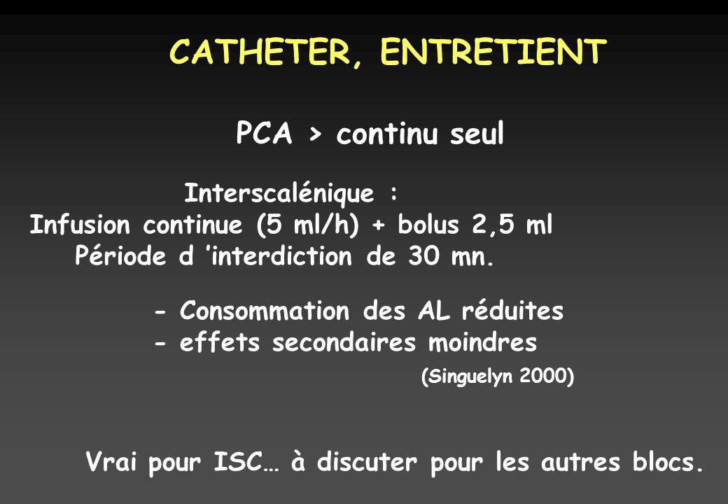 CATHETER, ENTRETIENT PCA > continu seul Interscalénique : Infusion continue (5 ml/h) + bolus 2,5 ml Période d interdiction de 30 mn.