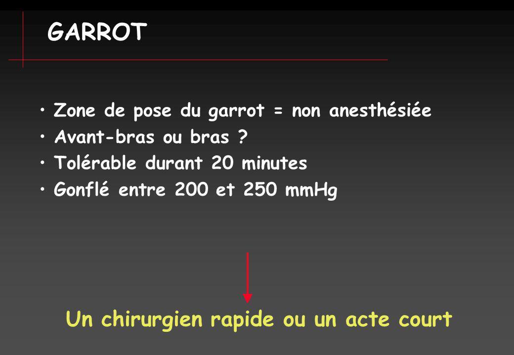 Zone de pose du garrot = non anesthésiée Avant-bras ou bras ? Tolérable durant 20 minutes Gonflé entre 200 et 250 mmHg Un chirurgien rapide ou un acte