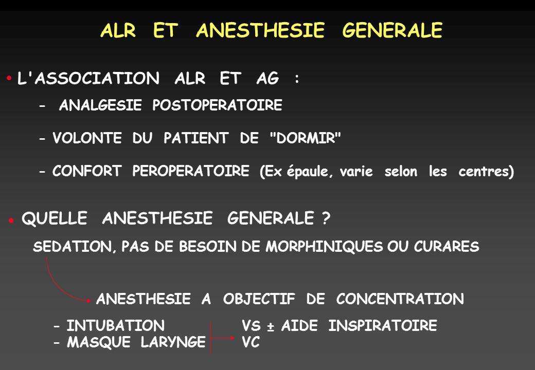 ALR ET ANESTHESIE GENERALE L'ASSOCIATION ALR ET AG : - ANALGESIE POSTOPERATOIRE - VOLONTE DU PATIENT DE