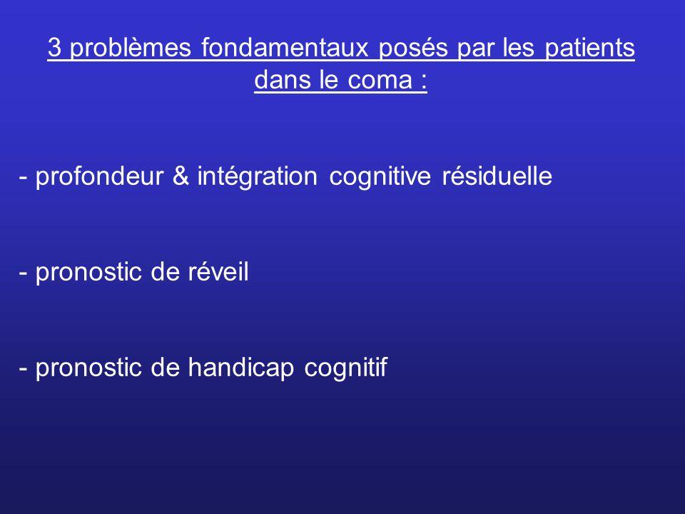 3 problèmes fondamentaux posés par les patients dans le coma : - profondeur & intégration cognitive résiduelle - pronostic de réveil - pronostic de ha
