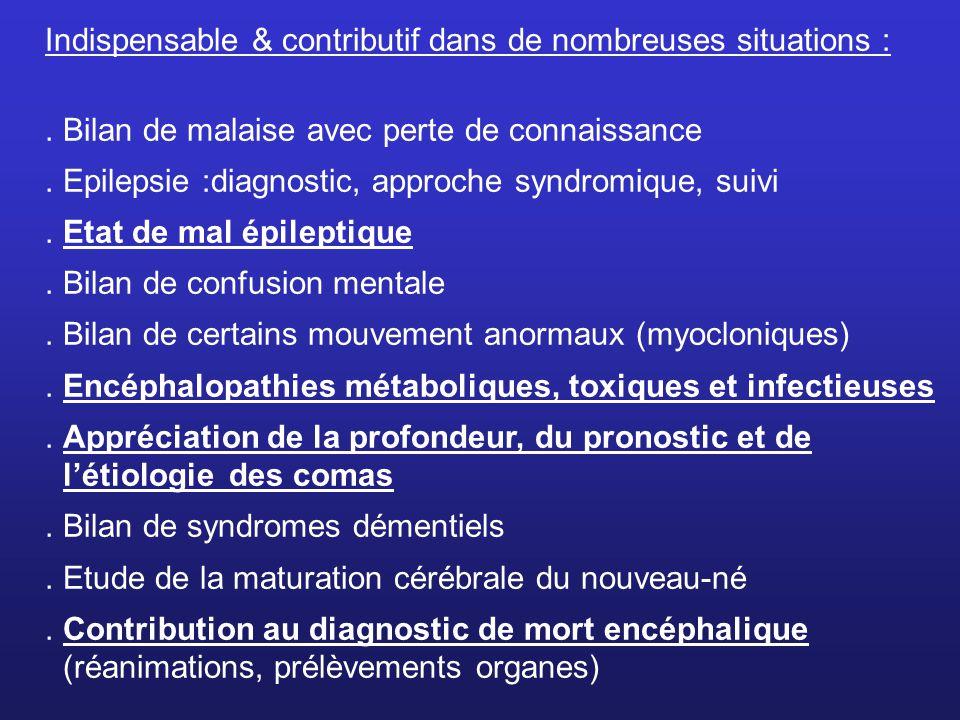 Indispensable & contributif dans de nombreuses situations :. Bilan de malaise avec perte de connaissance. Epilepsie :diagnostic, approche syndromique,