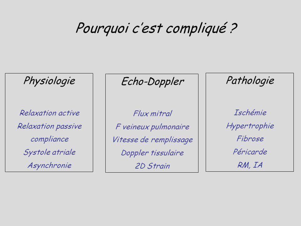 PAOP > 15 mmHg ASC: 0,98 E/EA: 11,5 Se: 100% Sp: 97% Bouhemad B, Anesthesiology, 2003 PAOP (mmHg) = 0,97 E/Ea + 4,37 PAPO estimée par analyse combinée du flux mitral et DTI 60 patients / Choc septique et SDRA Biais entre PAPO estimée et mesurée 0,44 + 2,2