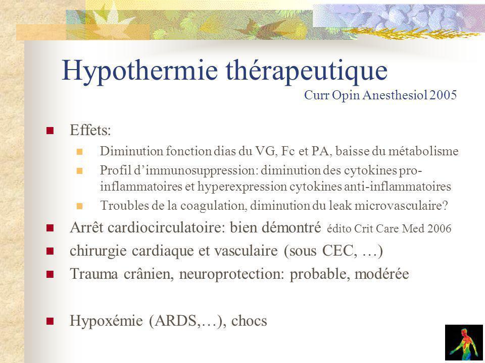 Hypothermie thérapeutique Curr Opin Anesthesiol 2005 Effets: Diminution fonction dias du VG, Fc et PA, baisse du métabolisme Profil dimmunosuppression