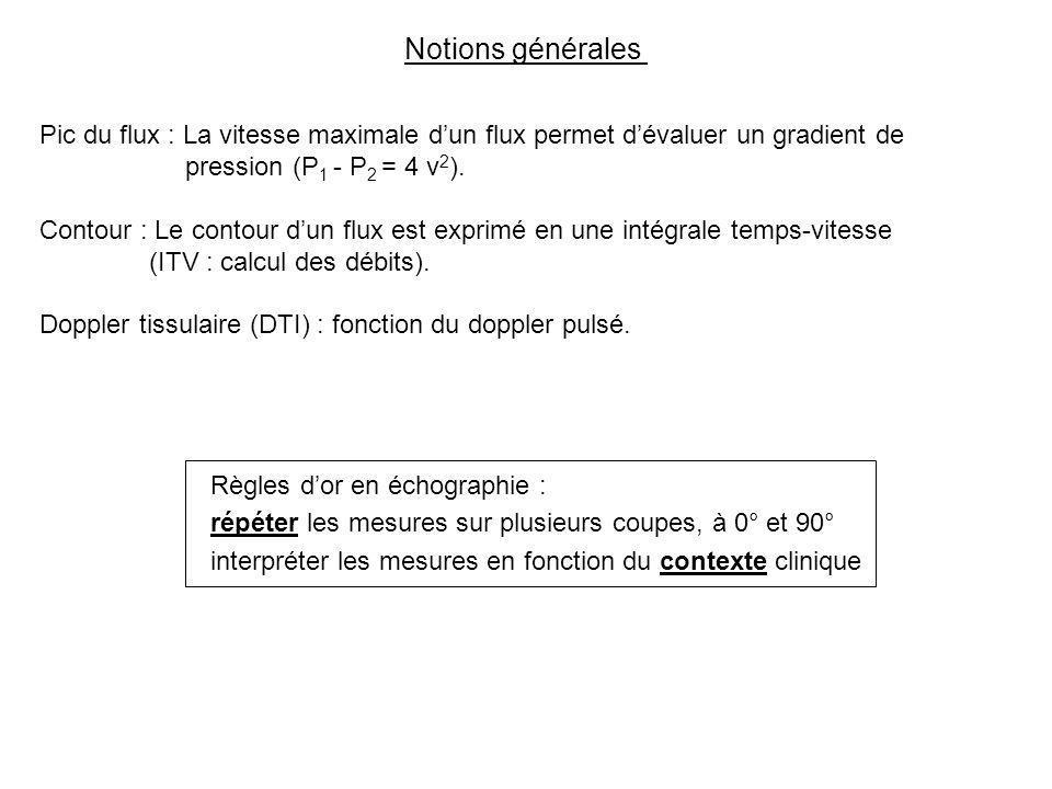 Notions générales Règles dor en échographie : répéter les mesures sur plusieurs coupes, à 0° et 90° interpréter les mesures en fonction du contexte cl