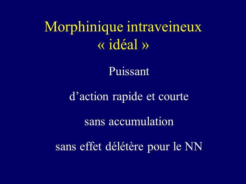 Morphinique intraveineux « idéal » Puissant daction rapide et courte sans accumulation sans effet délétère pour le NN