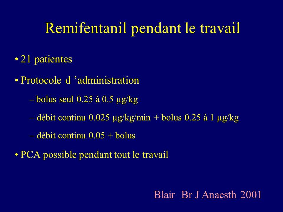 Remifentanil pendant le travail 21 patientes Protocole d administration – bolus seul 0.25 à 0.5 µg/kg – débit continu 0.025 µg/kg/min + bolus 0.25 à 1