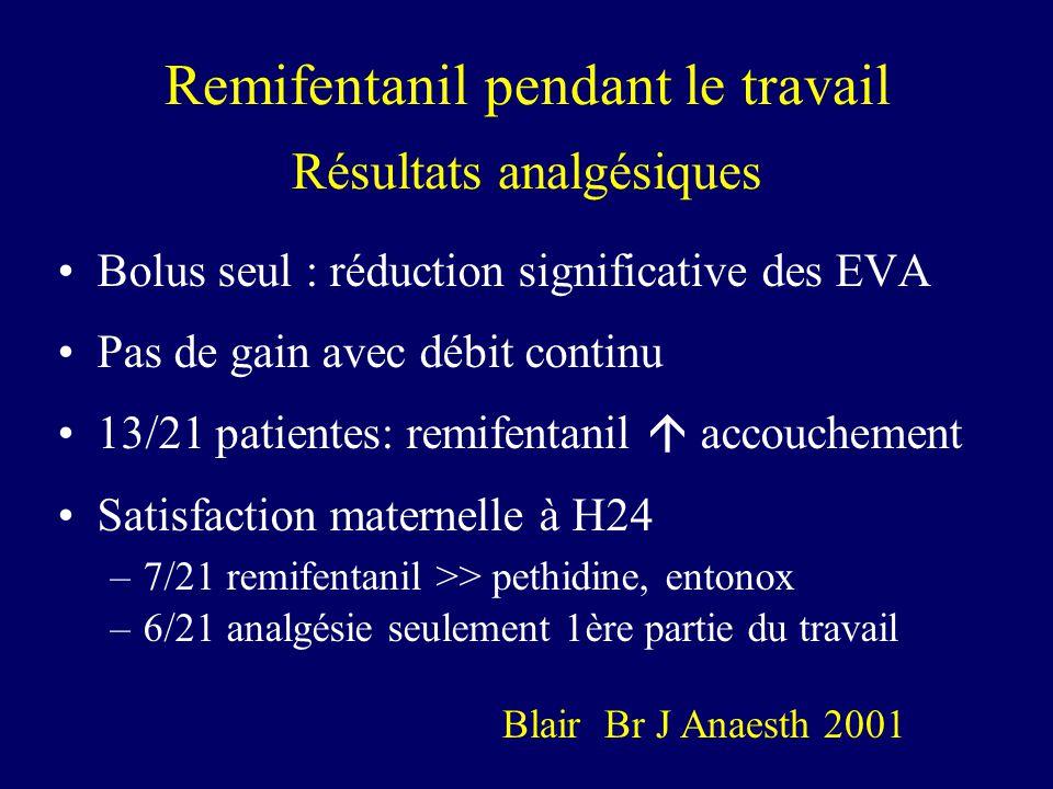 Remifentanil pendant le travail Résultats analgésiques Bolus seul : réduction significative des EVA Pas de gain avec débit continu 13/21 patientes: re