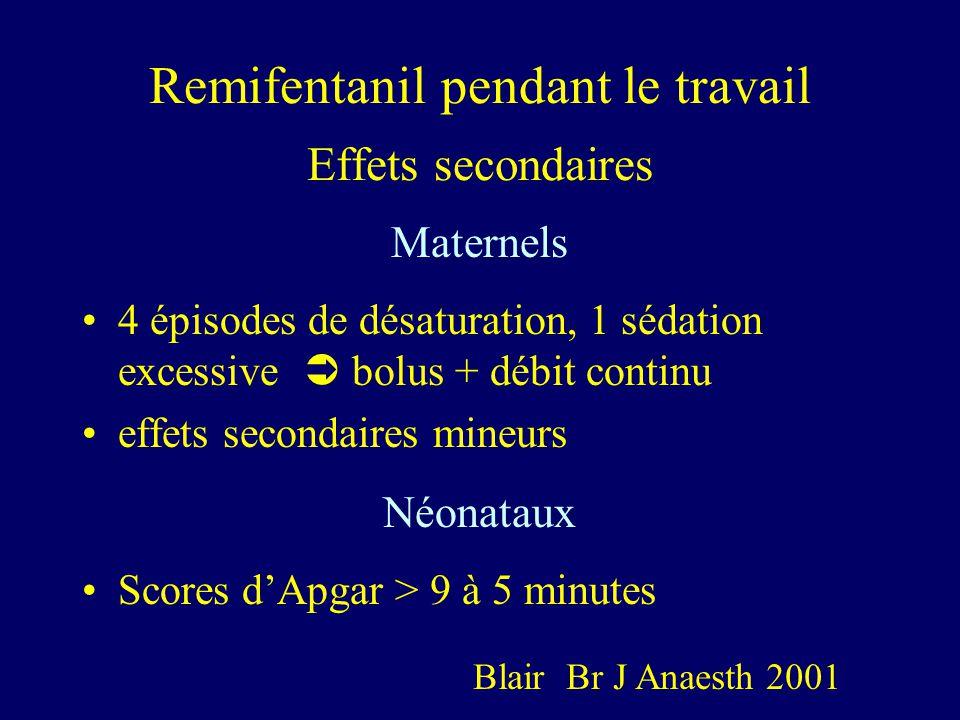 Remifentanil pendant le travail Effets secondaires Maternels 4 épisodes de désaturation, 1 sédation excessive bolus + débit continu effets secondaires