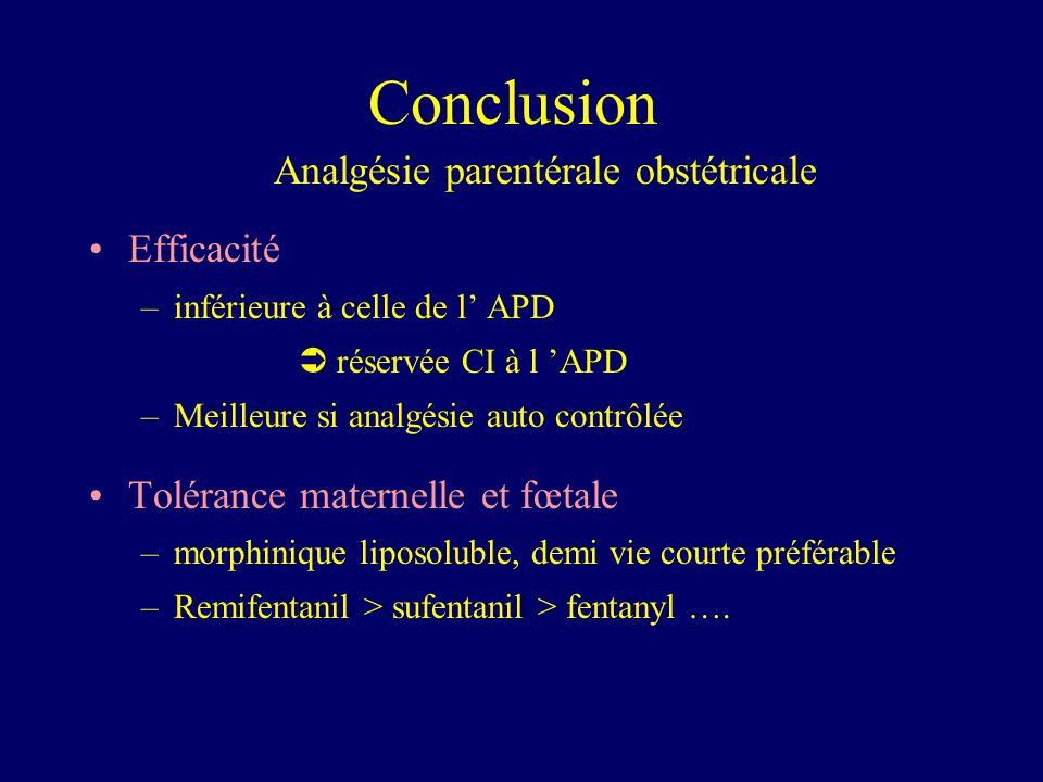 Conclusion Analgésie parentérale obstétricale Efficacité –inférieure à celle de l APD réservée CI à l APD –Meilleure si analgésie auto contrôlée Tolér