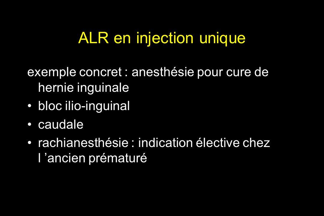 ALR en injection unique exemple concret : anesthésie pour cure de hernie inguinale bloc ilio-inguinal caudale rachianesthésie : indication élective ch