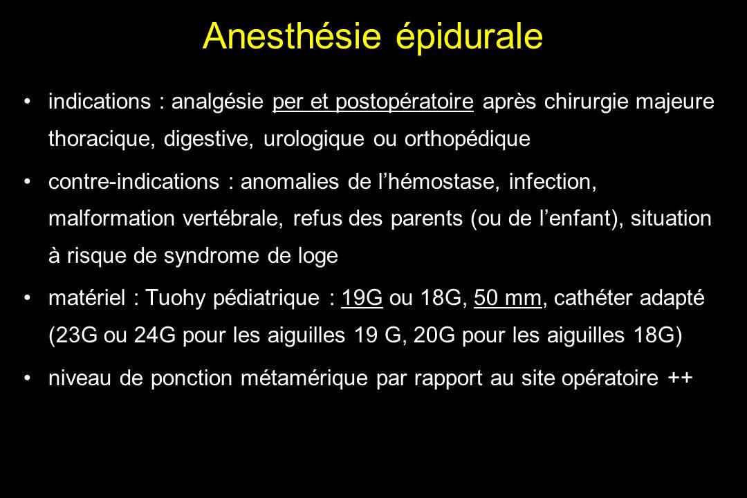 Anesthésie épidurale indications : analgésie per et postopératoire après chirurgie majeure thoracique, digestive, urologique ou orthopédique contre-in