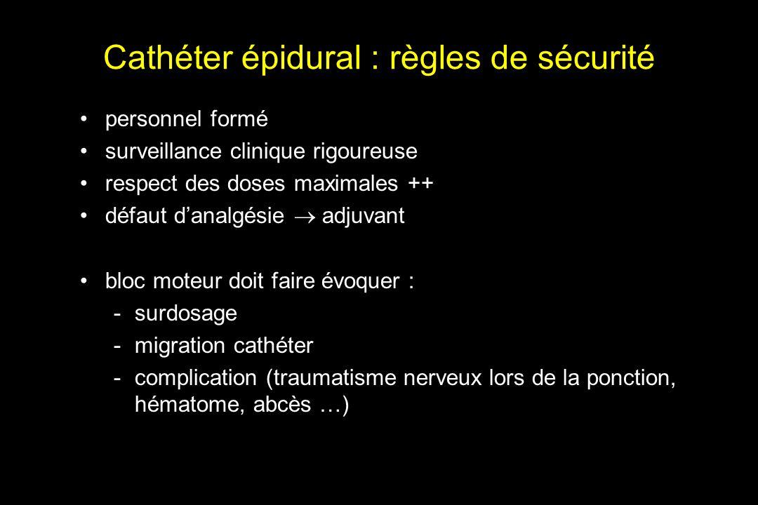 Cathéter épidural : règles de sécurité personnel formé surveillance clinique rigoureuse respect des doses maximales ++ défaut danalgésie adjuvant bloc