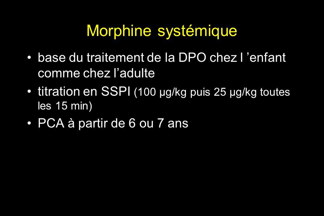 Morphine systémique base du traitement de la DPO chez l enfant comme chez ladulte titration en SSPI (100 µg/kg puis 25 µg/kg toutes les 15 min) PCA à