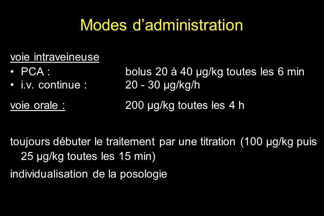 Modes dadministration voie intraveineuse PCA : bolus 20 à 40 µg/kg toutes les 6 min i.v. continue : 20 - 30 µg/kg/h voie orale : 200 µg/kg toutes les