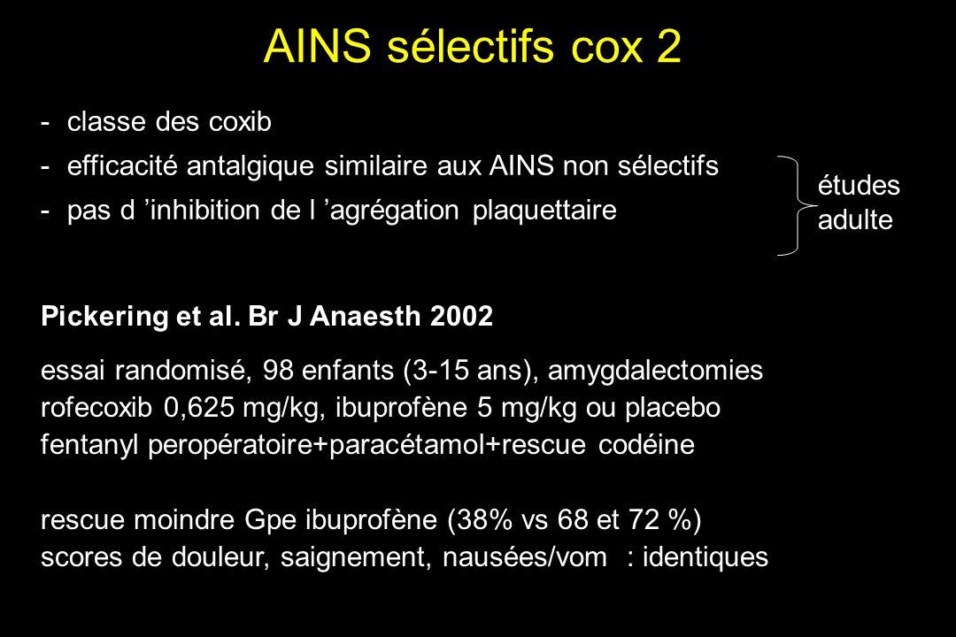 AINS sélectifs cox 2 -classe des coxib -efficacité antalgique similaire aux AINS non sélectifs -pas d inhibition de l agrégation plaquettaire études a