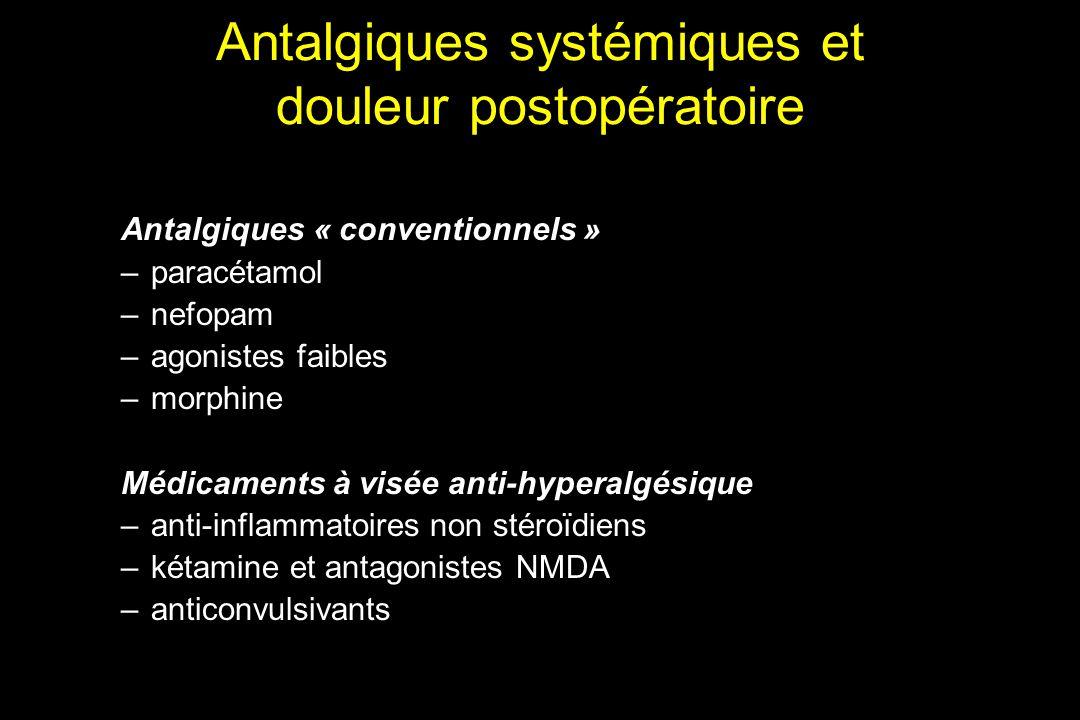 Antalgiques systémiques et douleur postopératoire Antalgiques « conventionnels » –paracétamol –nefopam –agonistes faibles –morphine Médicaments à visé