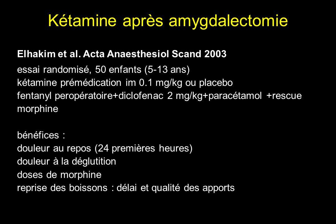 Kétamine après amygdalectomie Elhakim et al. Acta Anaesthesiol Scand 2003 essai randomisé, 50 enfants (5-13 ans) kétamine prémédication im 0.1 mg/kg o
