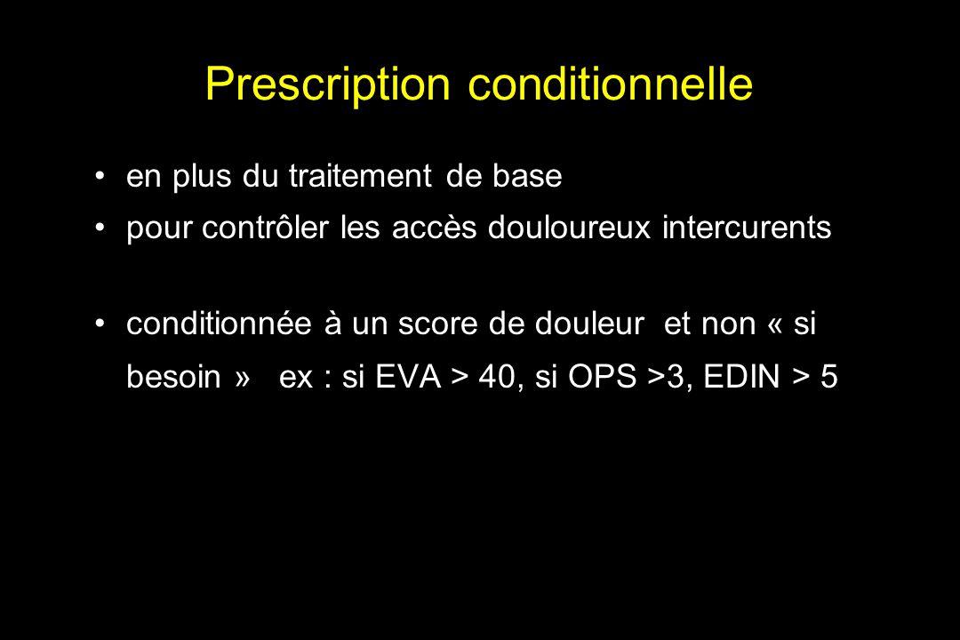 Prescription conditionnelle en plus du traitement de base pour contrôler les accès douloureux intercurents conditionnée à un score de douleur et non «