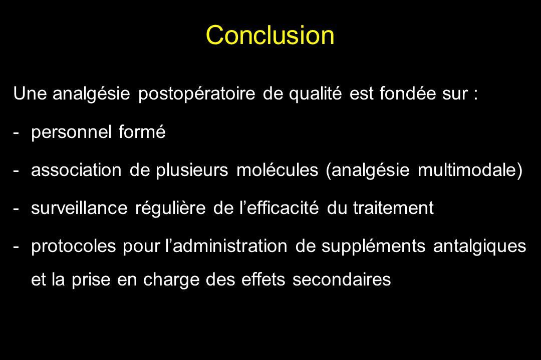 Conclusion Une analgésie postopératoire de qualité est fondée sur : -personnel formé -association de plusieurs molécules (analgésie multimodale) -surv
