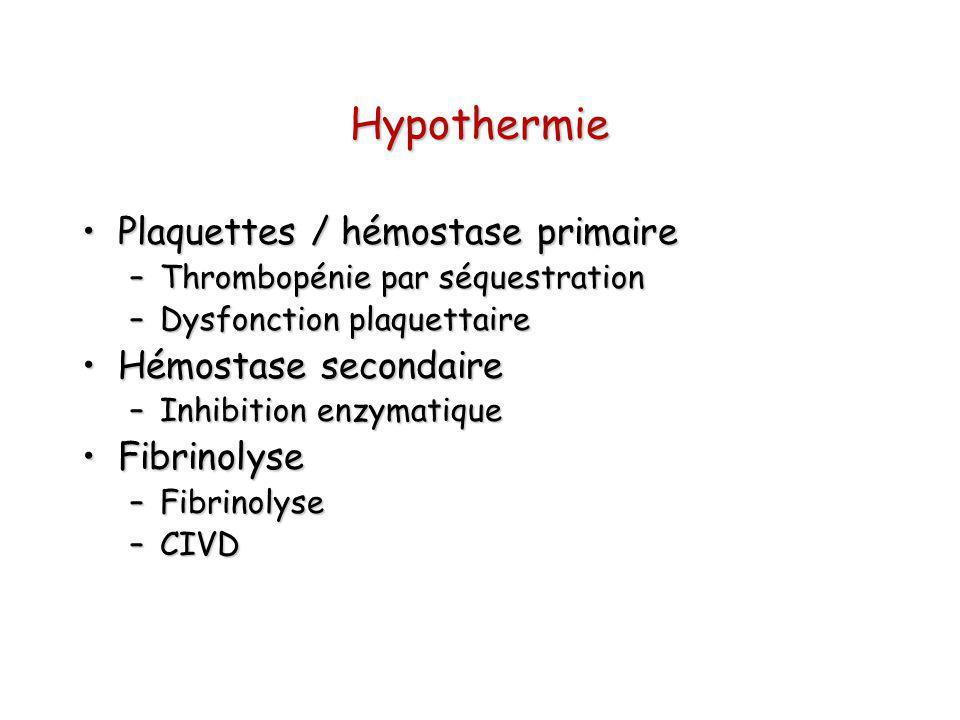 Hypothermie Plaquettes / hémostase primairePlaquettes / hémostase primaire –Thrombopénie par séquestration –Dysfonction plaquettaire Hémostase seconda