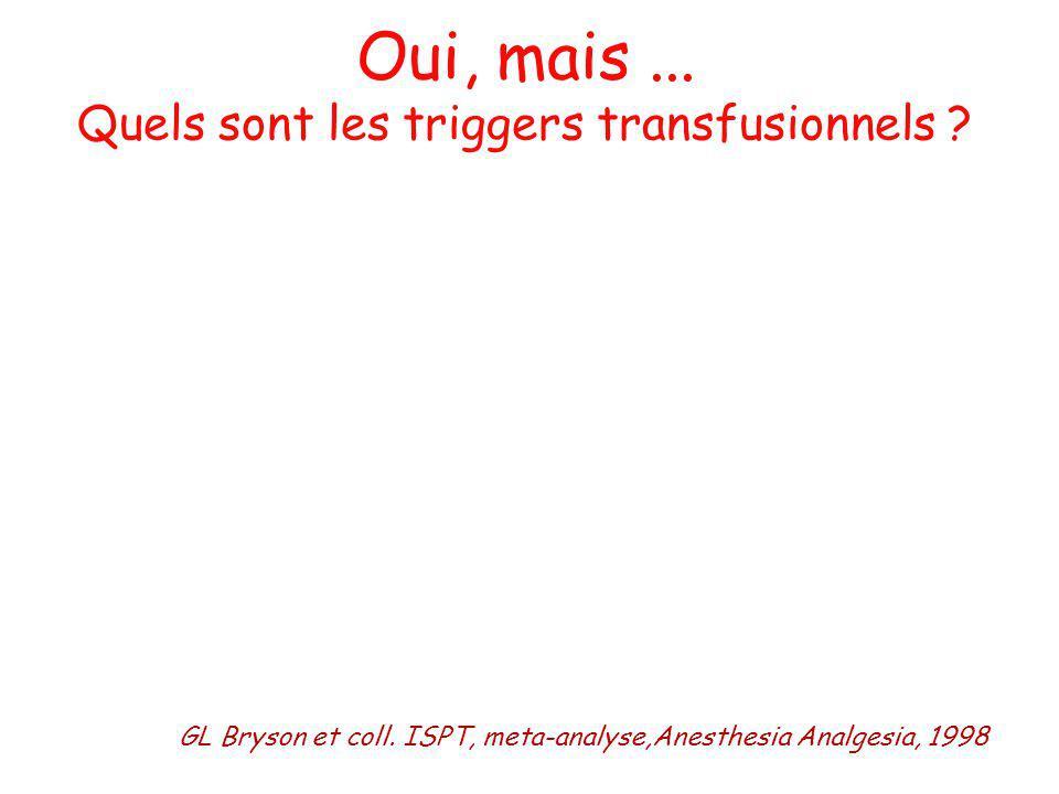 Oui, mais... Quels sont les triggers transfusionnels ?