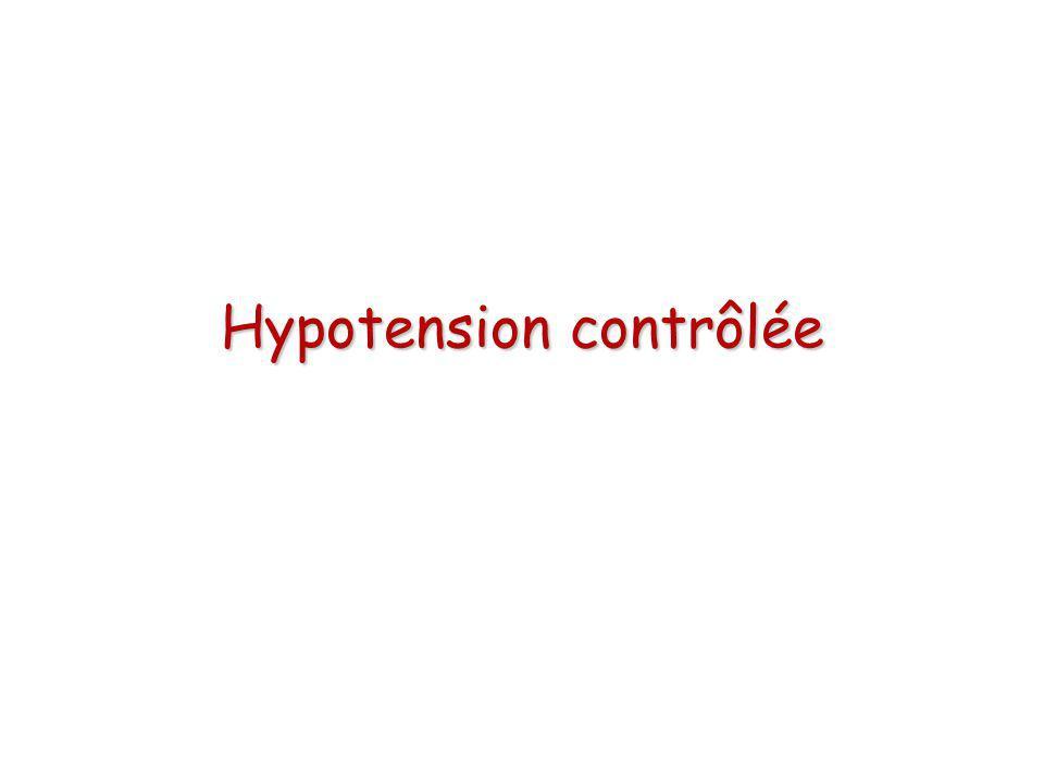 Hypotension contrôlée vs HNV Boldt J et coll, BJA, 1999 Prostatectomie radicale sous AG 60 patients randomisés en 3 groupes: –Contrôle –hypoPA contrôlée (MAP 50 mmHg), Nipride® –HNV 15 mL/kgh, gélatine Saignement, transfusion Troponine I, hémostase, coût...