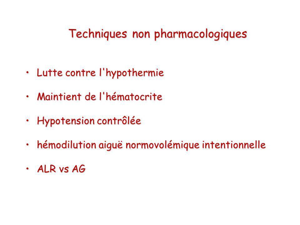 Lutte contre l'hypothermieLutte contre l'hypothermie Maintient de l'hématocriteMaintient de l'hématocrite Hypotension contrôléeHypotension contrôlée h