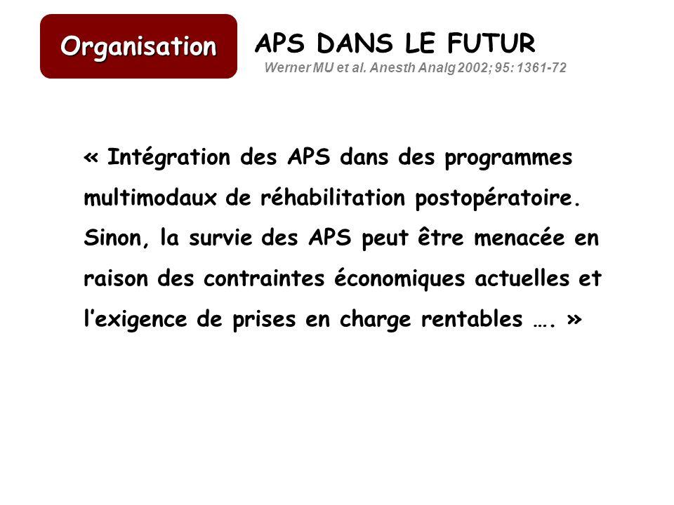 APS DANS LE FUTUR « Intégration des APS dans des programmes multimodaux de réhabilitation postopératoire. Sinon, la survie des APS peut être menacée e