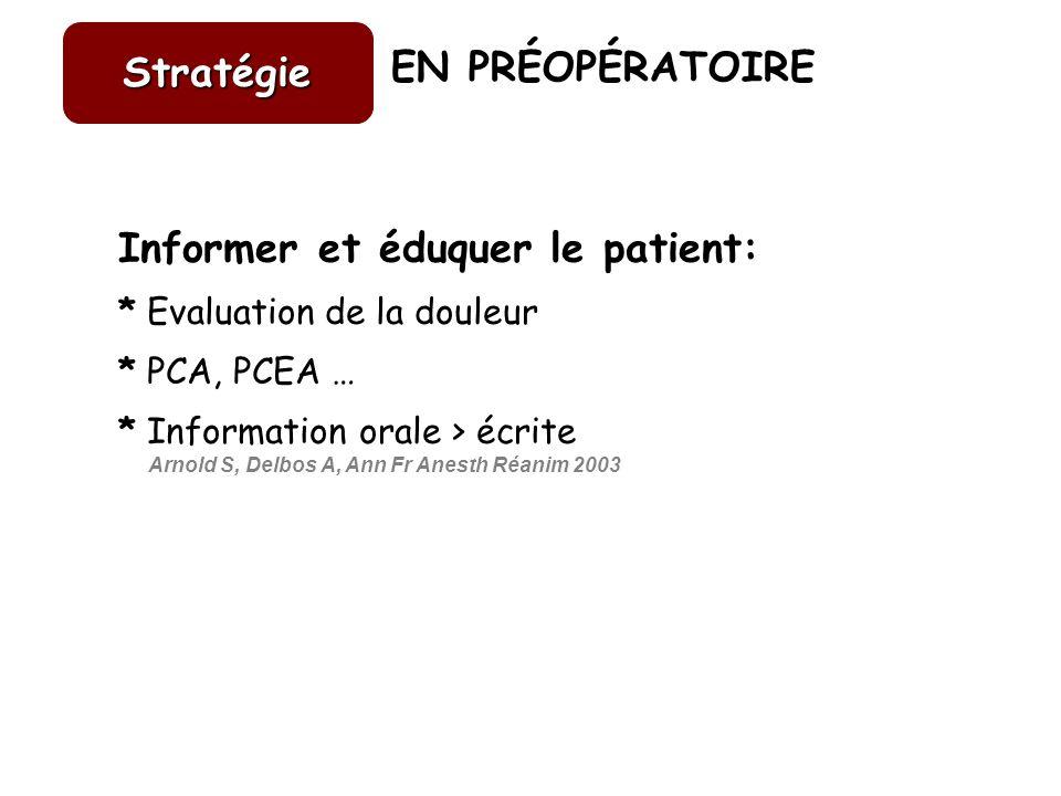 EN PRÉOPÉRATOIRE Informer et éduquer le patient: * Evaluation de la douleur * PCA, PCEA … * Information orale > écrite Arnold S, Delbos A, Ann Fr Anes