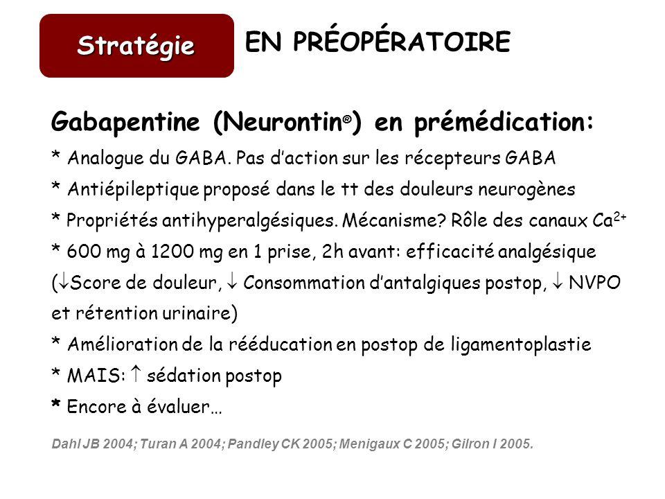 EN PRÉOPÉRATOIRE Stratégie Gabapentine (Neurontin ® ) en prémédication: * Analogue du GABA. Pas daction sur les récepteurs GABA * Antiépileptique prop