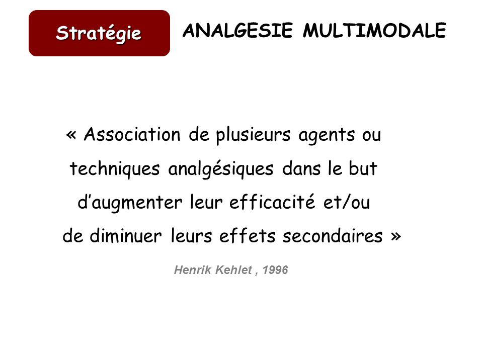 ANALGESIE MULTIMODALE « Association de plusieurs agents ou techniques analgésiques dans le but daugmenter leur efficacité et/ou de diminuer leurs effe