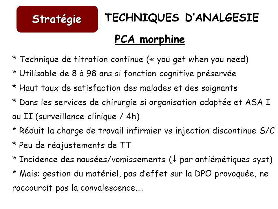 TECHNIQUES DANALGESIE Stratégie PCA morphine * Technique de titration continue (« you get when you need) * Utilisable de 8 à 98 ans si fonction cognit