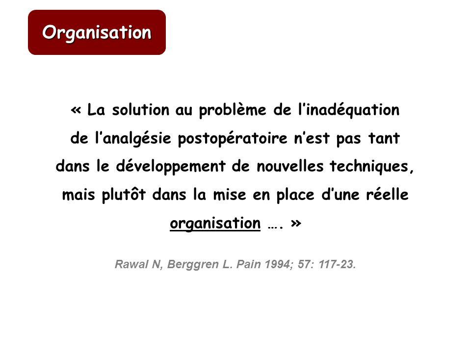 RÔLE DE LÉVALUATION DE LA DOULEUR ET DE SA RETRANSCRIPTION Ravaud P, Keita H, BJS 2004 P < 0, 05 Organisation
