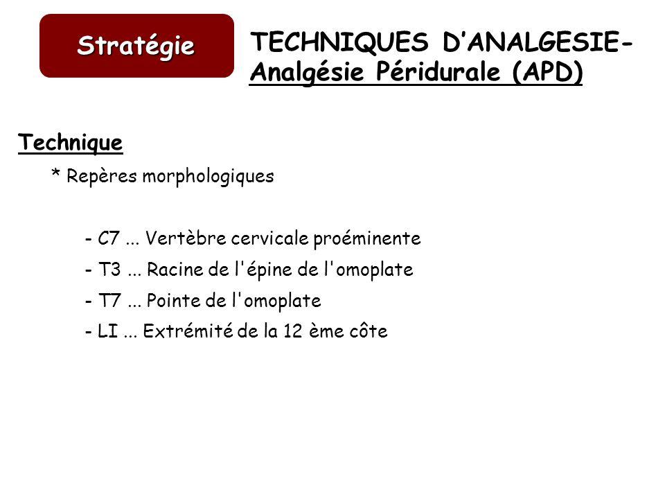 TECHNIQUES DANALGESIE- Stratégie Analgésie Péridurale (APD) Technique * Repères morphologiques - C7... Vertèbre cervicale proéminente - T3... Racine d