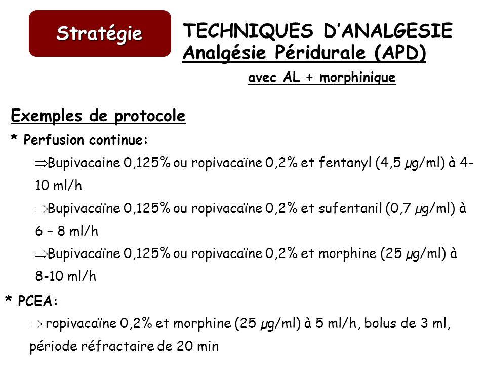 TECHNIQUES DANALGESIE Stratégie Exemples de protocole * Perfusion continue: Bupivacaine 0,125% ou ropivacaïne 0,2% et fentanyl (4,5 µg/ml) à 4- 10 ml/