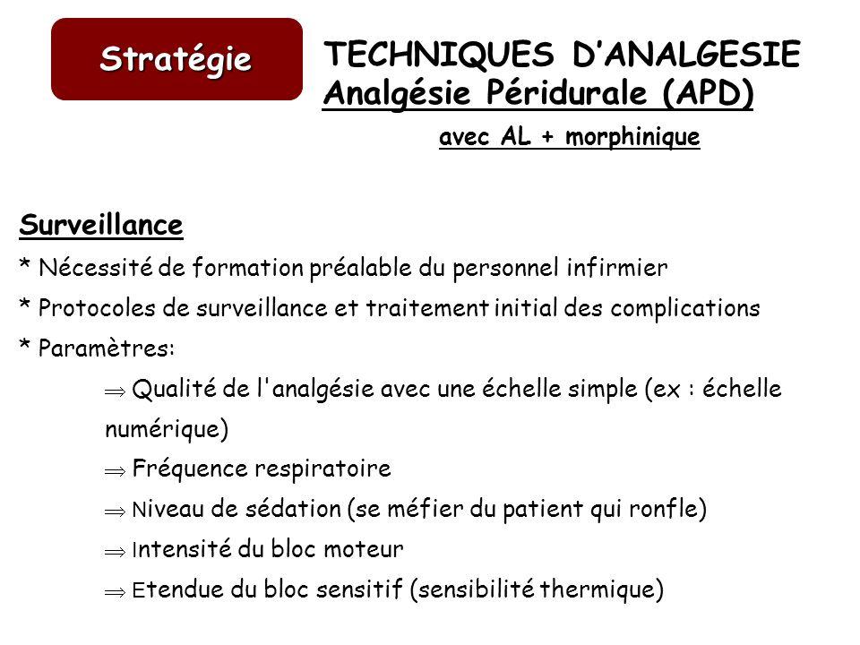 TECHNIQUES DANALGESIE Stratégie Surveillance * Nécessité de formation préalable du personnel infirmier * Protocoles de surveillance et traitement init