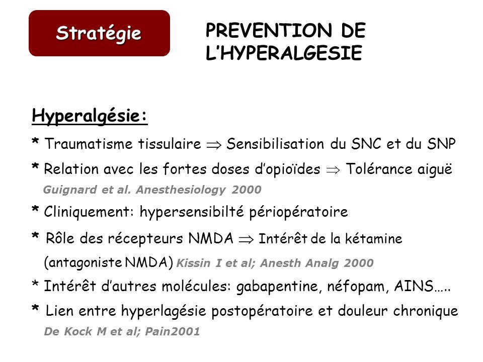 Hyperalgésie: * Traumatisme tissulaire Sensibilisation du SNC et du SNP * Relation avec les fortes doses dopioïdes Tolérance aiguë Guignard et al. Ane