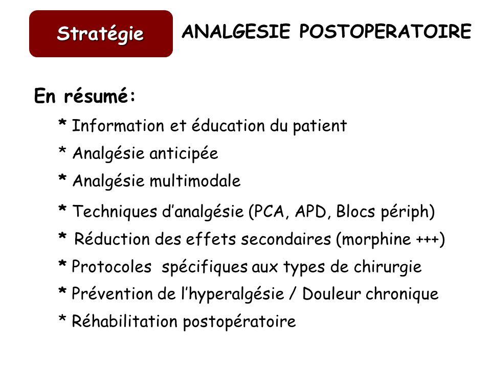 ANALGESIE POSTOPERATOIRE En résumé: * Information et éducation du patient * Analgésie anticipée * Analgésie multimodale * Techniques danalgésie (PCA,