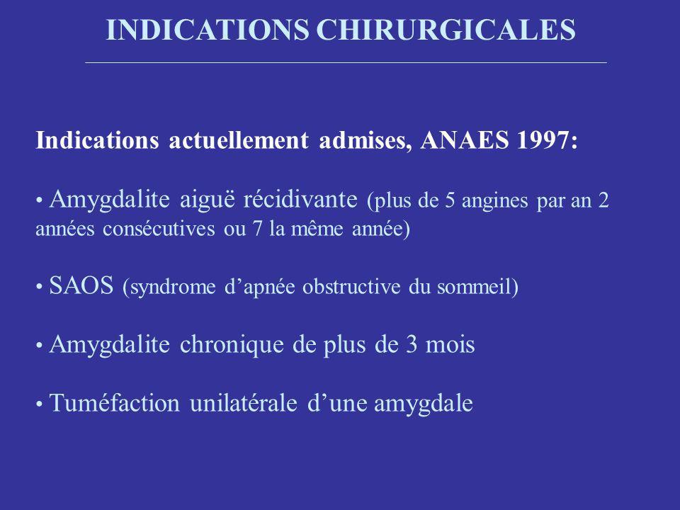 INDICATIONS CHIRURGICALES Indications actuellement admises, ANAES 1997: Amygdalite aiguë récidivante (plus de 5 angines par an 2 années consécutives ou 7 la même année) SAOS (syndrome dapnée obstructive du sommeil) Amygdalite chronique de plus de 3 mois Tuméfaction unilatérale dune amygdale