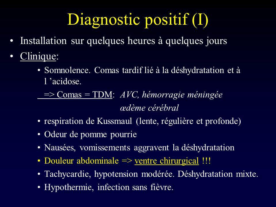 Diagnostic positif (I) Installation sur quelques heures à quelques jours Clinique: Somnolence. Comas tardif lié à la déshydratation et à l acidose. =>