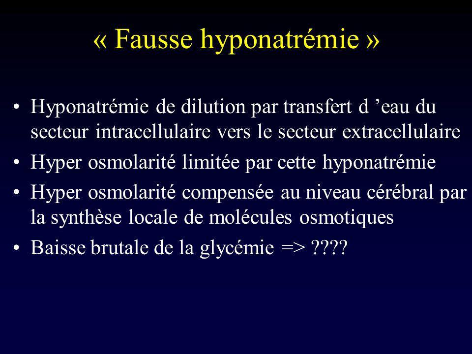 « Fausse hyponatrémie » Hyponatrémie de dilution par transfert d eau du secteur intracellulaire vers le secteur extracellulaire Hyper osmolarité limit